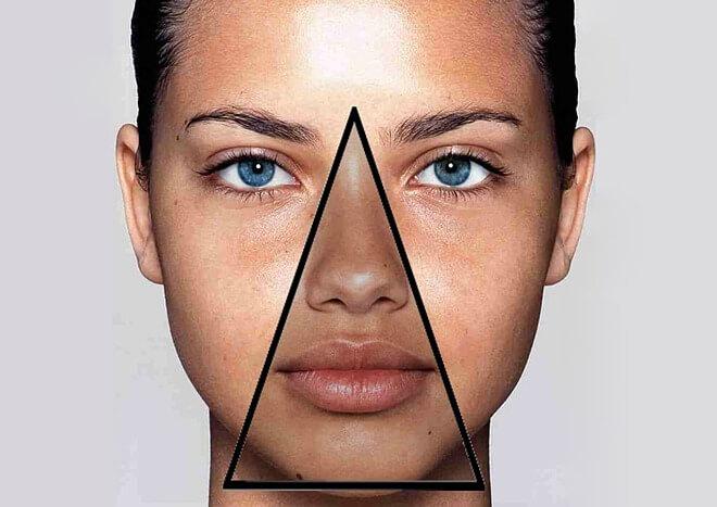 """Vùng tam giác được đánh giá là """"tam giác tử thần"""" trên khuôn mặt."""